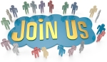 People group around Join Us invitation for social or business we